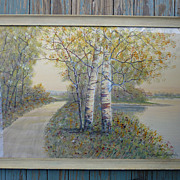 Birch Trees by a Road and River Watercolor by Listed Artist Raphael Senseman