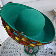 Fabulous Feathers Vintage Mr John Label Emerald Green Wool Hat