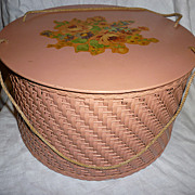 Pink Harvey Wicker Sewing Basket Floral Top Spool Tray