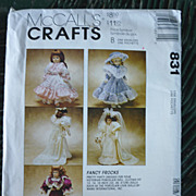 McCall�s Crafts Fancy Frocks Doll Clothes Pattern 831