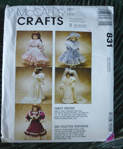 McCall's Crafts Fancy Frocks Doll Clothes Pattern 831