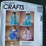 McCall�s Crafts Victorian Fancy Doll Clothes Pattern 795