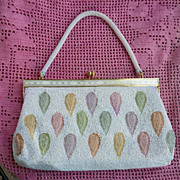 Pearly Beaded Pastel Leaves Satin Evening Bag