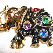 SALE Lucky Elephant  Black Enamel Big Rhinestones Brooch Pin