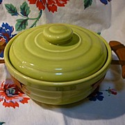 Bauer Chartruese Ringware Casserole with Hammered Copper Holder Wooden Handles
