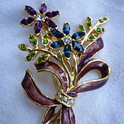 Monet Flower Bouquet and Bow Rhinestones Enamel Brooch