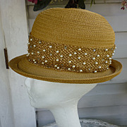 Golden Cloche with Sequins and Faux Pearls Vintage Suzy Label Hat