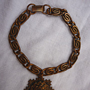 Modernist Copper Chain Links Bracelet With Large Sun Disc Charm