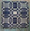 Indigo Cream Wool Jacquard Woven Coverlet Cuts for Cushions