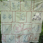 How Sweet Penny Square Red Work Embroidered Childs Quilt Top