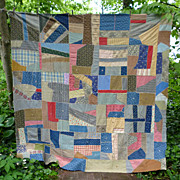 Geometric Crazy Quilt Top 1900�s Cotton Fabrics