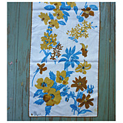 Vintage Vera Turquoise and Brown Flowers Print Scarf