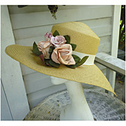 Vintage Darcy Creech Straw Hat with Flowers Martha's Vineyard Label