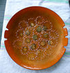Round Enamel on Copper Tray Dish 50s Modern