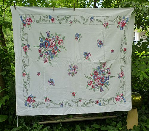 Red Pink Blue Flowers Jade Green Leaves Vintage 1950's Print Tablecloth