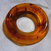 Swirled Rootbeer Circle Bakelite Brooch Pin