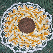 Sunflower White Edging Crochet Centerpiece