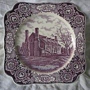 SALE Crown Ducal Mulberry Transferware Birthplace of Washington  Memorial Plate 1932