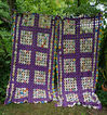 Exquisite 1930�s Purple and Prints Fabrics Yo Yo Quilt