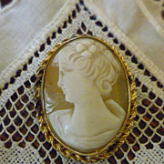 Direlle Shell Cameo Brooch 12K Gold Filled Frame