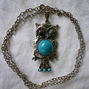 Owl Pendant on Chain Green Eyes Blue Tummy