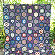 Honeycomb Grandmothers Flower Garden Antique Silk Quilt
