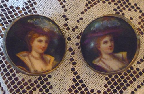 Victorian Ladies Portrait Limoges Style Enamel Porcelain and Silver Earrings