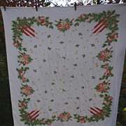 Holly Candles Bows Ornaments Vintage 50�s Xmas Tablecloth
