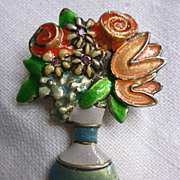 Signed Blossom Time Flowers in Vase Brooch Pin