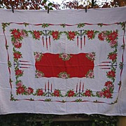 Candlesticks Holly Poinsettias Ribbon 50�s Print Xmas Linen Tablecloth