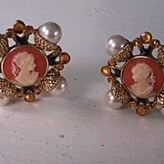 SALE Craft Renaissance Maltese Cross Cameo Faux Pearls Rhinestones Enamel Earrings