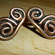 SALE Modernist Copper Scrolls Screw Back Earrings