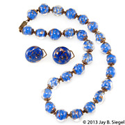Italy Blue Venetian Glass Beads Necklace & Earrings Set