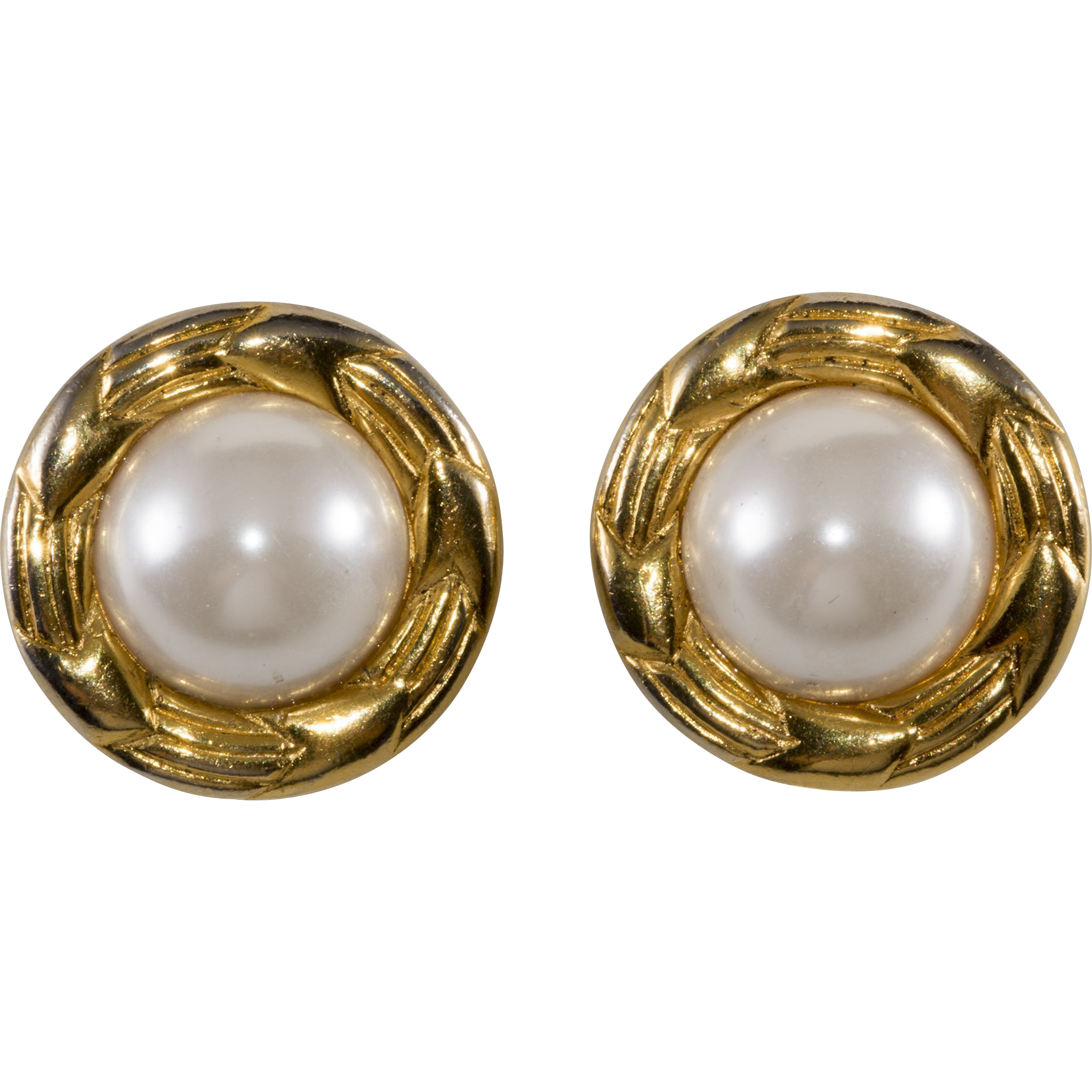 chanel faux pearl 1970s earrings from chicantiques on ruby
