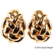 Ciner Woven Gold Clip Earrings Like New