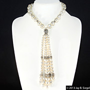 Cotton Ball Pearl & Rhinestone Dangle Necklace