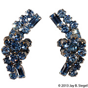 Juliana Blue Rhinetone Flower Cluster Earrings