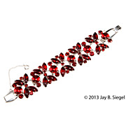 Juliana Red Cabochon Rhinestone Bracelet
