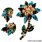 Juliana Blue Green & Black Rhinestone Flower Brooch & Earrings Set