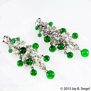 Kramer Emerald Green Bead & Clear Rhinestone Dangle Earrings