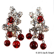 Kramer Ruby Red Bead & Clear Rhinestone Dangle Earrings
