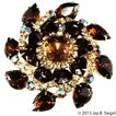 Extra LARGE Brown & Clear Rhinestone Brooch