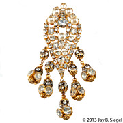 Extra Long Rhinestone Ball & Pearl  Brooch Pin