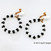 Napier Black & White Glass Bead Hoop Earrings