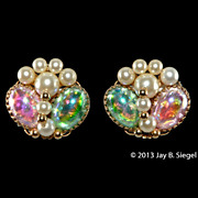 Napier Pink & Green Foiled Cabochon & Pearl Earrings