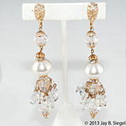 Crystal Pearl & Rhinestone Chandelier Dangle Earrings