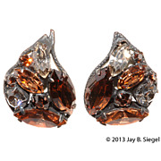 Regency Brown & Gray Rhinestone Earrings