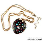 Plastic Strawberry Pendant Necklace w/ Multicolor Rhinestones