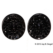 Thermoset Plastic Black Rhinestone Earrings