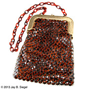 Whiting & Davis Brown Animal Print Metal Mesh Handbag Purse